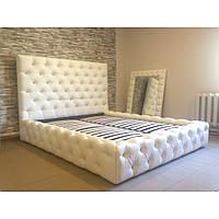 """Двуспальная кровать """"Supersoft"""" 160*200 с мягким изголовьем и стразами и подъемным механизмом"""