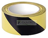 Лента сигнальная оградительная желто-черная 72мм х 100м