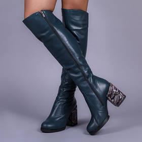 Высокие сапоги кожаные широкий каблук 9 см зеленые кожа натуральная размеры от 36 до 41