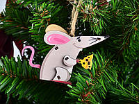 Новорічні іграшки Миша 3D з дерева