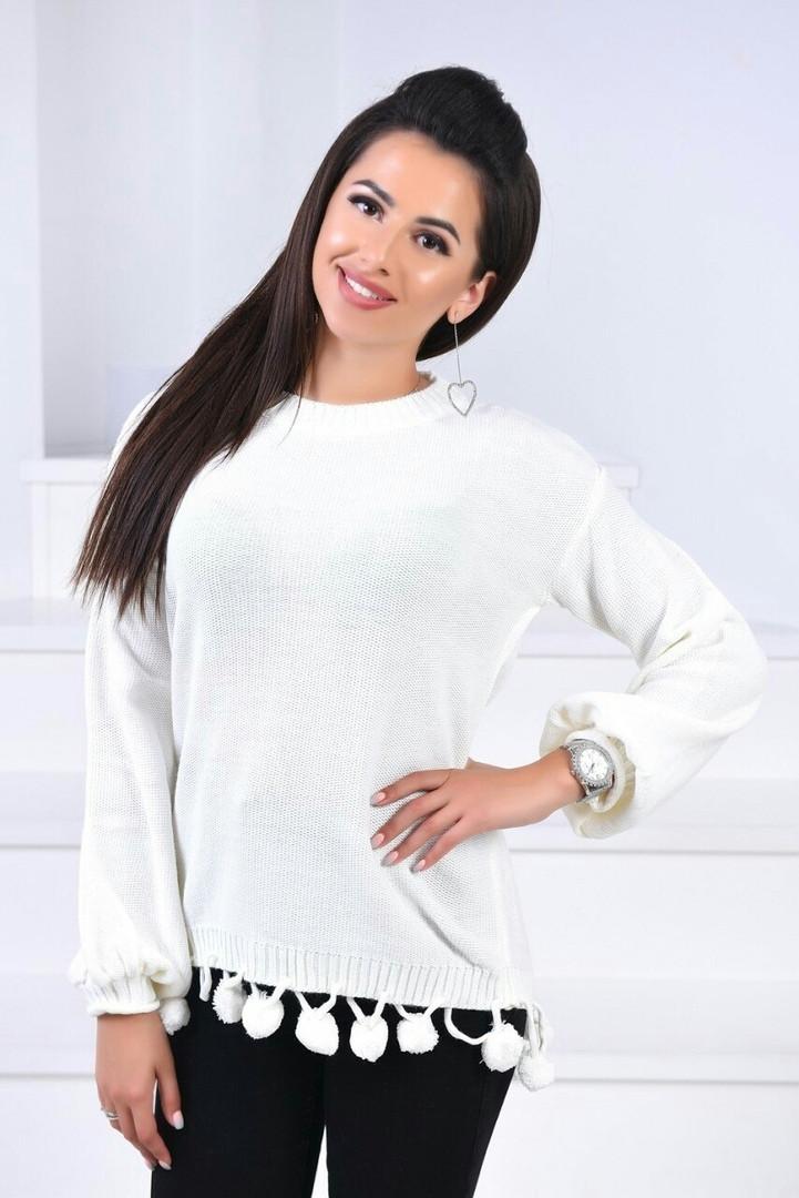 Красивый женский свитерок с бубонами 42-46.(4расцв)