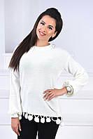 Красивый женский свитерок с бубонами 42-46.(4расцв), фото 1