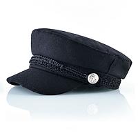Черное кеппи картуз капитанка кепи осенняя теплая кепка с кожаным козырьком