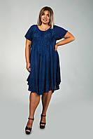 Синее платье - разлетайка (ламбада) с рукавом, с вышивкой, на 50-60 размеры, фото 1
