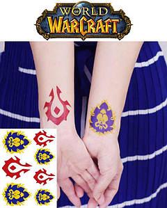 Временные тату Варкрафт World of Warcraft набор 7 штук Орда и Альянс