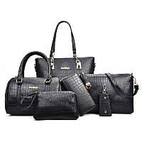 Набор женских сумок Mei&Ge 6 предметов чёрного цвета 01183