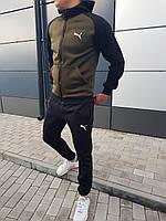 Спортивный костюм ЗИМНИЙ в стиле Puma black-khaki мужской / ТОП качество!