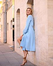 Стильне плаття міді на запах з костюмки Барбі, 7 кольорів, з 40 по 46 рр