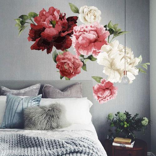 Виниловая интерьерная наклейка Яркие Пионы (наклейки на обои стены цветы), БОЛЬШОЙ набор, глянец