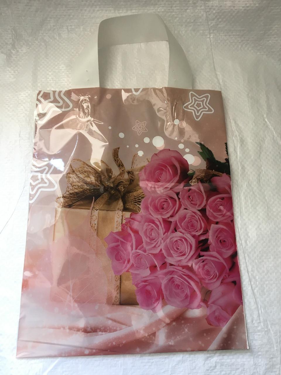 Полиэтиленовый пакет с петлевой ручкой ''Роза розовая'' 230*290, 10 шт