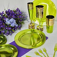 Тарелки пластиковые  для пикника,  мангал меню. Полная сервировка стола. CFP 6 шт 260 мм