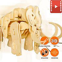 Деревянный 3D пазл «Мамонт», управление звуком. Robotime