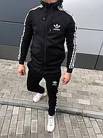 Модный мужской спортивный костюм на флисе Адидас черный (реплика)