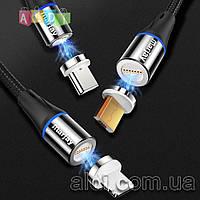 Магнитный кабель 3A быстрая зарядка + передача данных Lightning Micro USB Type-C (1 коннектор в комплекте)