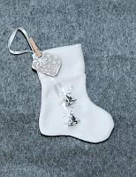 Новогодний сапожок для подарков Рождественский с серебром 18*9,5 см носок чулок шкарпетка