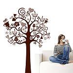 Интерьерная виниловая наклейка на стену Дерево кофе (кухонная наклейка), коричневое, матовое, 1100х1500 мм