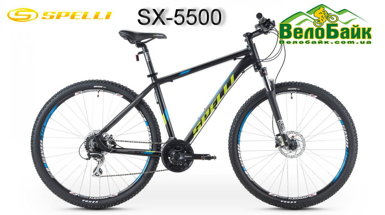 """Велосипед SPELLI 26"""" SX-5500 рама 19"""" 2016 чорно/зелений/матовий SP000082"""