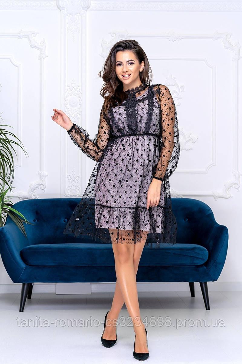 Коктейльное платье 9185e Бежевый S M L