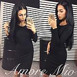Теплое ангоровое женское платье черное, длинный рукав, фото 2