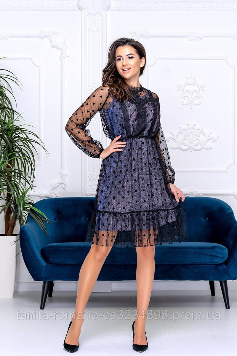 Коктейльное платье 9185e Фиолетовый S M L