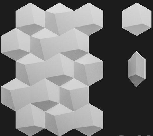 """Формы для 3d панелей """"Шестигранник №3"""" 19*17,5 x5 (форма для 3д панелей из абс пластика)"""