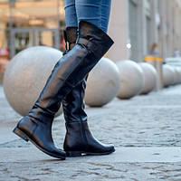 Ботфорты чёрные без каблука кожа натуральная (демисезон или зима на выбор) 36-41