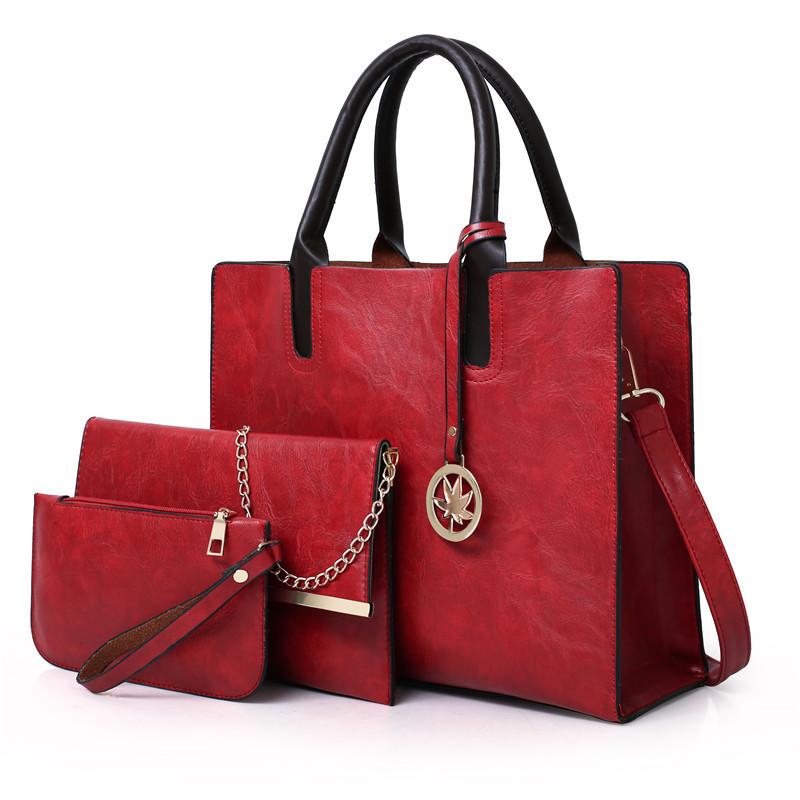Набор женских сумок 3 предмета с брелком красного цвета BA-1