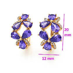 Серьги Две Цветки с фиолетовым цирконием, позолота Xuping, 18К