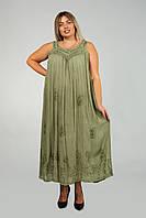 Оливковый длинный сарафан - разлетайка с вышивкой, размер свободный (до 58 размера)