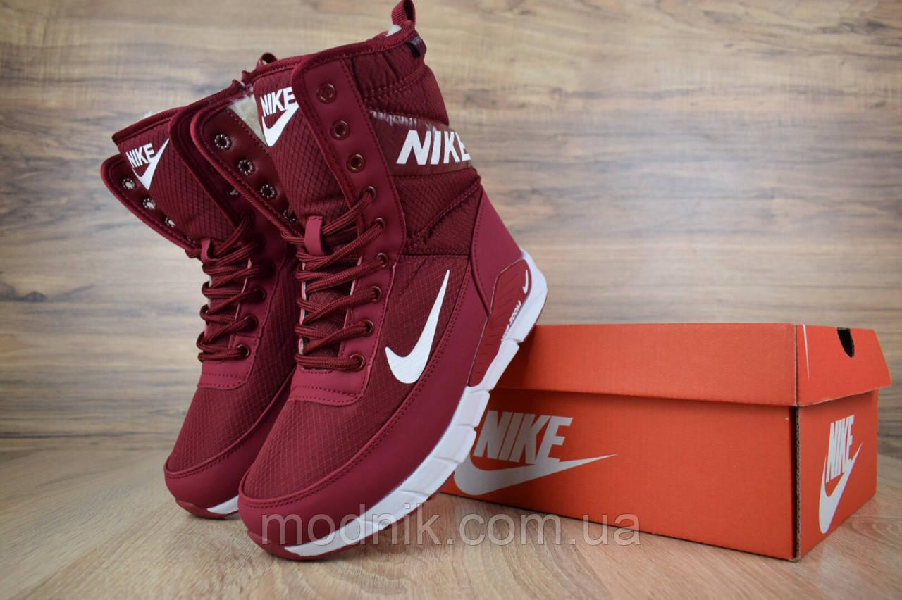 Женские зимние дутики Nike Zoom (бордовые)
