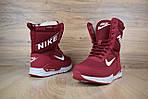 Женские зимние дутики Nike Zoom (бордовые), фото 4