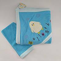 Махровое полотенце с уголком+варежка для новорожденного