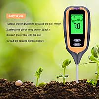 Аналізатор ґрунту 4 в 1 (pH метр, вологомір, термометр і люксметр), фото 7