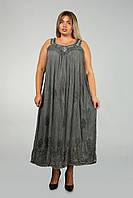 Серый длинный сарафан - разлетайка с вышивкой, размер свободный (до 58 размера), фото 1
