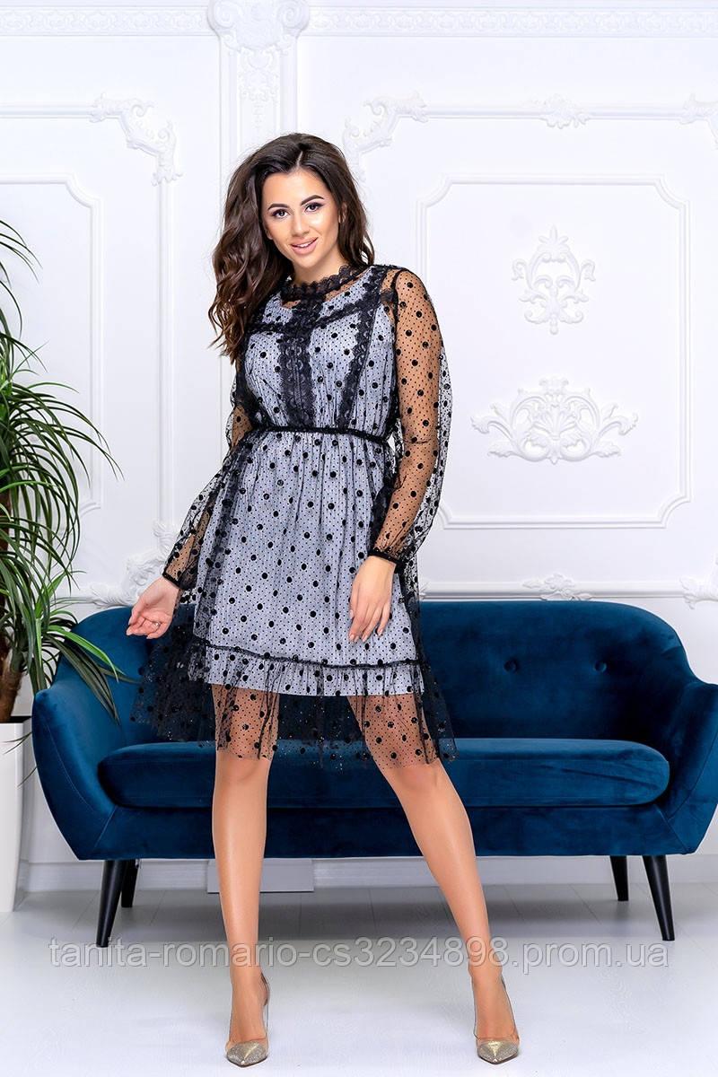 Коктейльное платье 9185e Серебро S M L