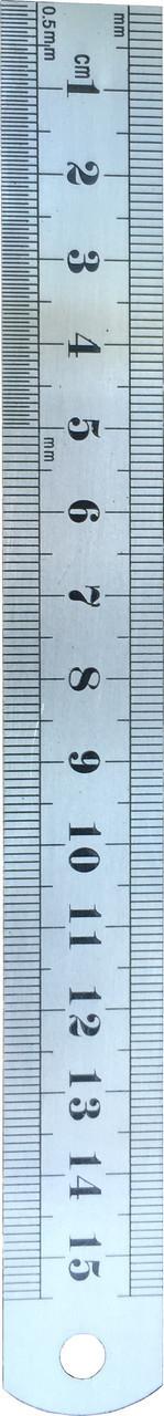 Линейка измерительная металлическая 15см