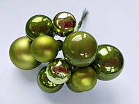 Новогодние мини шарики на проволочке 10 шт_ЗЕЛЕНЫЙ оливковый, фото 1