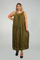Бронзовый длинный сарафан - разлетайка с вышивкой, размер свободный (до 58 размера), фото 1