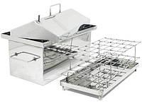 Коптильня Средняя из нержавейки с гидрозатвором и крышкой домиком для горячего копчения (500х300х350)