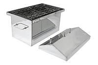 Коптильня Средняя из нержавейки 2 мм с гидрозатвором и крышкой домиком для горячего копчения (500х300х350)
