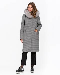 Клетчатое зимнее женское пальто с капюшоном 44-48 р