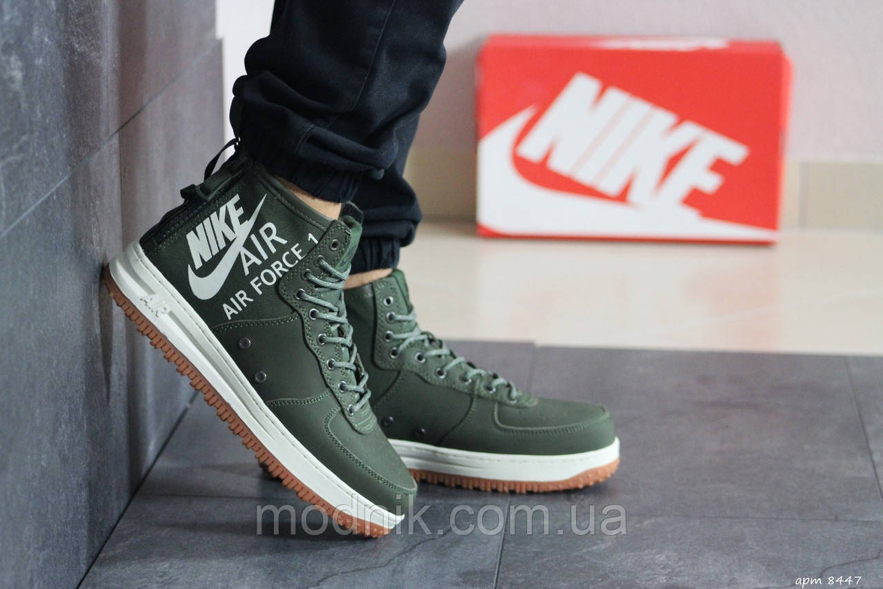 Мужские кроссовки Nike Air Force 1 (темно-зеленые)
