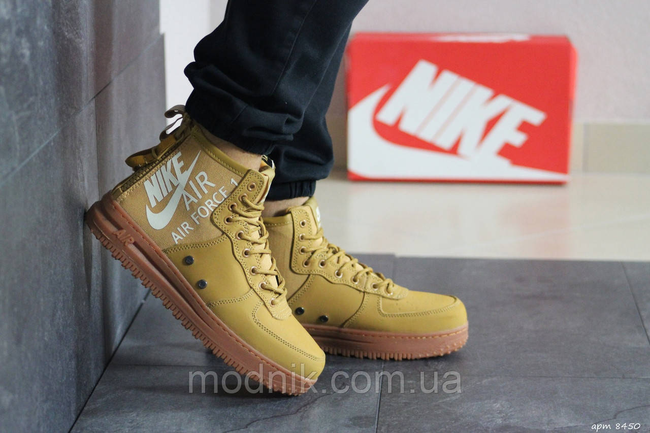 Мужские кроссовки Nike Air Force 1 (горчичные)