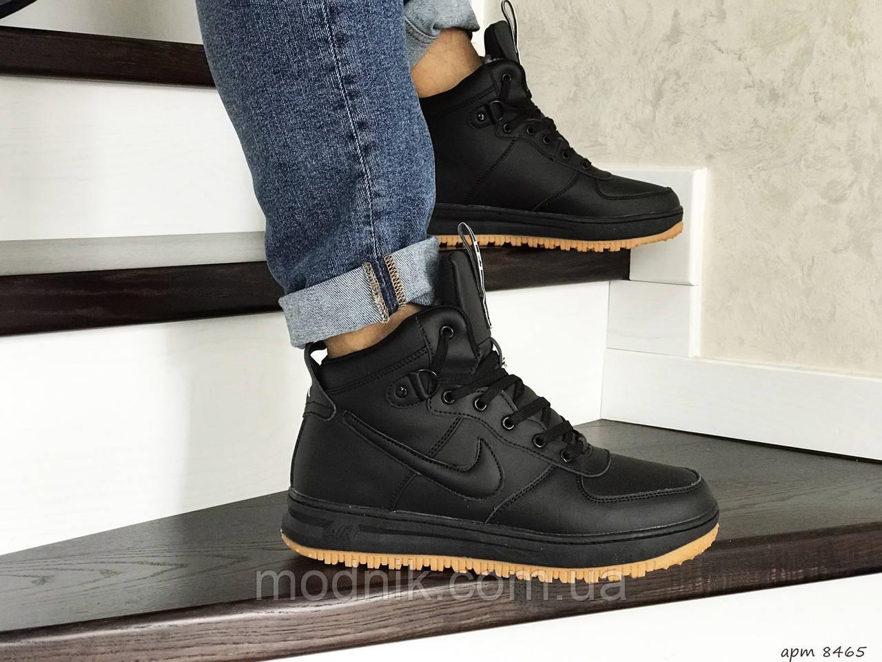 Мужские зимние кроссовки Nike Lunar Force 1 (черно-коричневые)