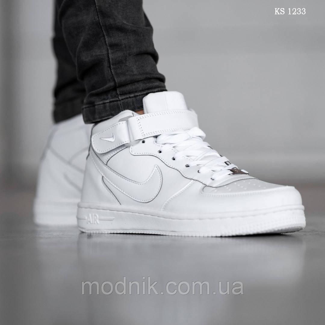 Мужские кроссовки Nike Air Force High (белые) ЗИМА