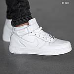 Чоловічі кросівки Nike Air Force High (білі) ЗИМА, фото 4