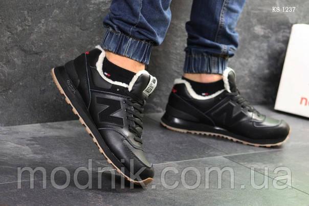 Мужские кроссовки New Balance  574 (черные/рыжие) ЗИМА