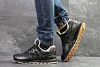 Мужские кроссовки New Balance  574 (черные/рыжие) ЗИМА, фото 3