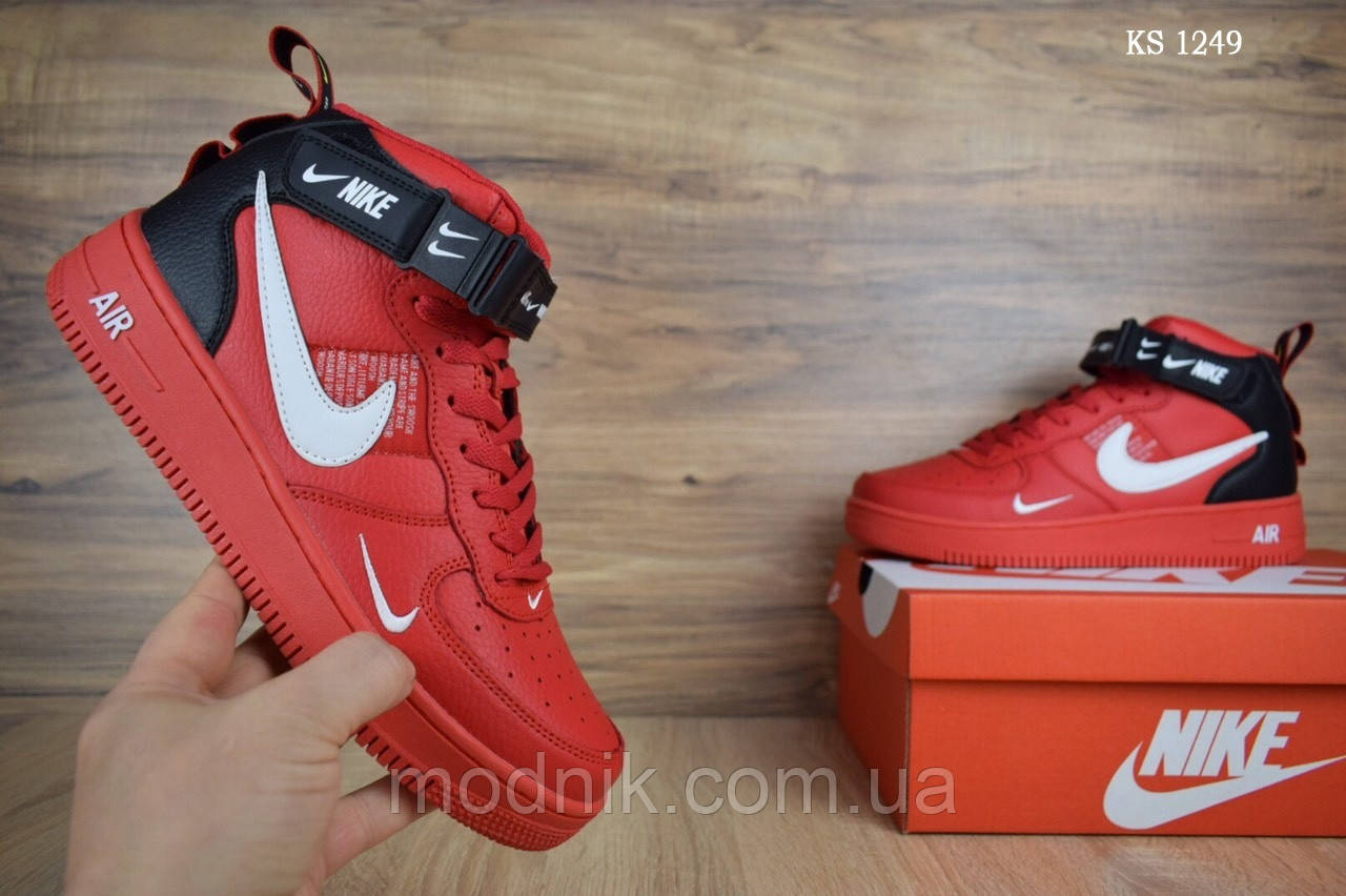 Мужские кроссовки Nike Air Force 1 LV8 High (красные) ЗИМА