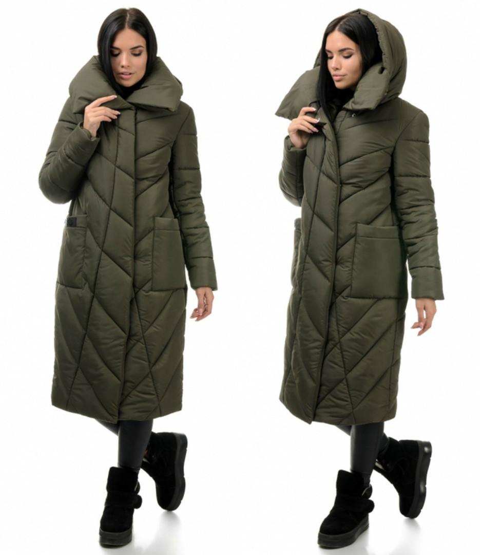 Стильное молодежное зимнее пальто-куртка, цвет хаки